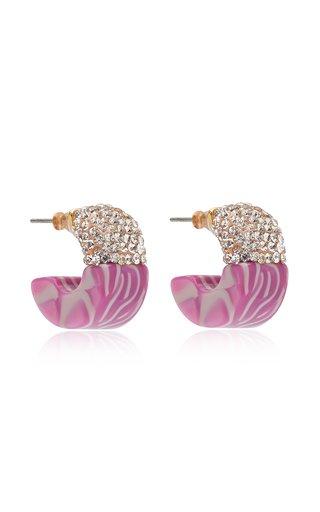 Crystal Colorblock Huggie Hoop Earrings