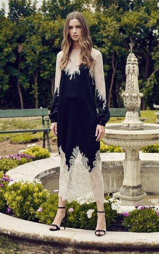 Marsilia Lace-Trimmed Satin Midi Dress