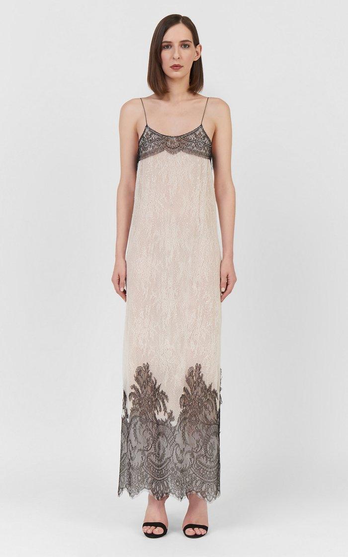 Breena Sequined Chantilly Lace Maxi Slip Dress