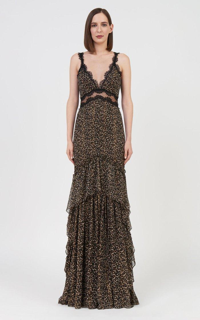 Farah Lace-Trimmed Leopard-Print Chiffon Gown