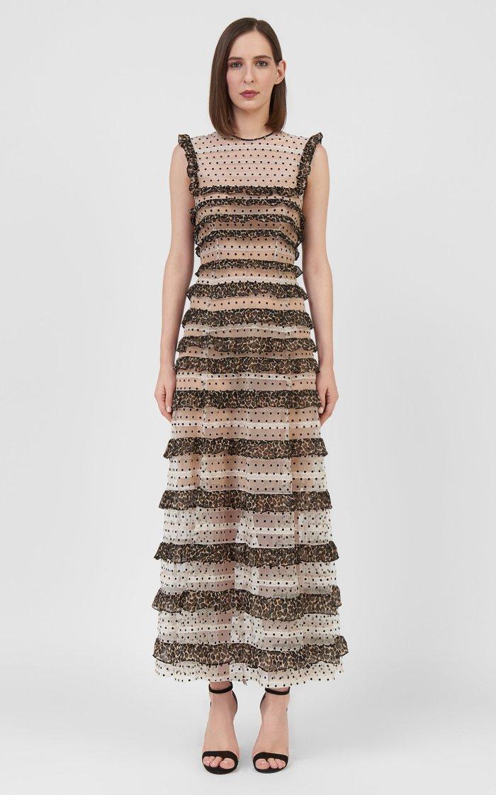 Ingrid Leopard-Trimmed Dotted-Flocked Tulle Maxi Dress