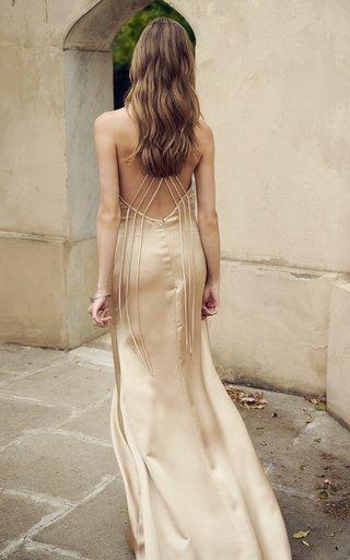 Gyllene Satin Button-Detailed Satin Gown