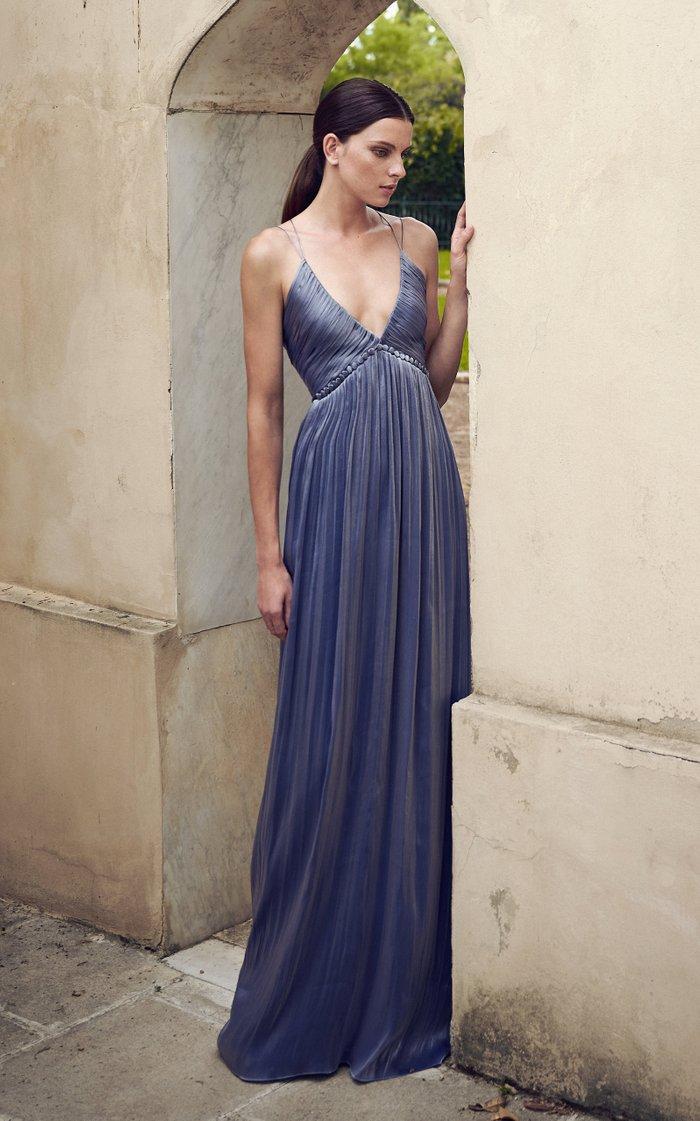 Nissa Button-Detailed Pleated Lurex Georgette Gown