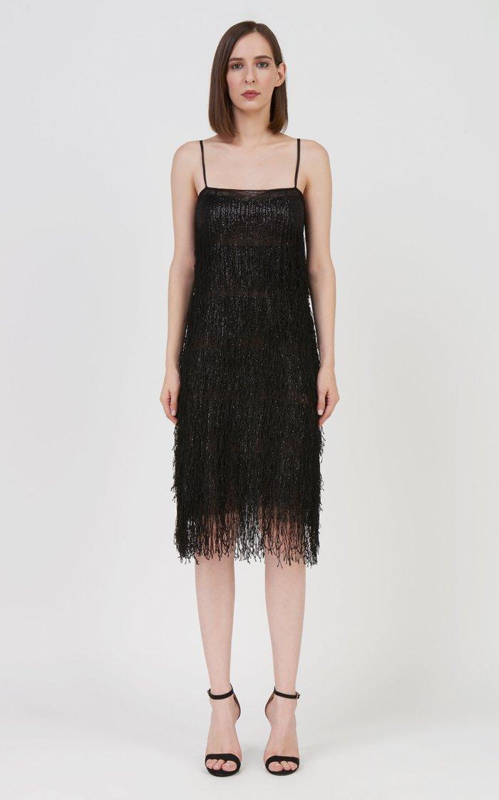 Tandy Sequined-Fringe Lace Mini Dress