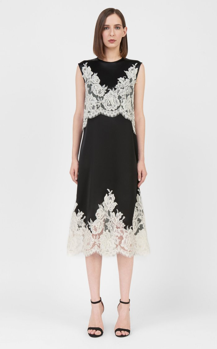 Beverly Lace-Appliqued Satin Midi Dress