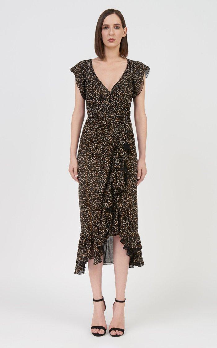 Jolecia Ruffled Leopard Chiffon Midi Wrap Dress