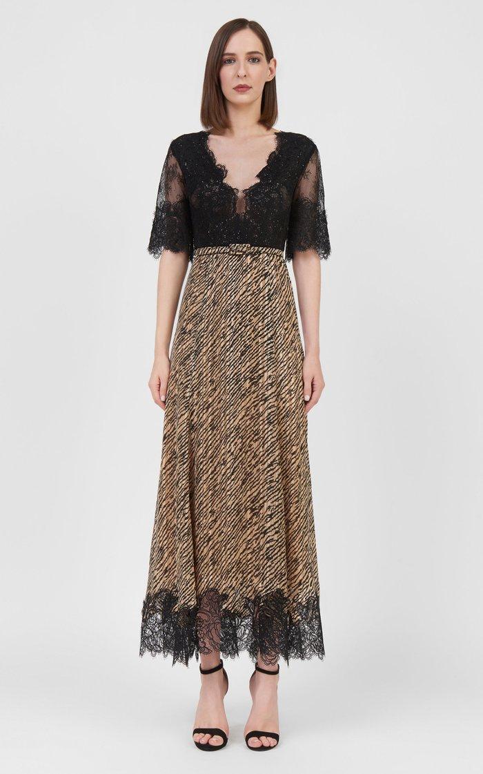 Donella Lace-Trimmed Tiger-Print Chiffon Midi Dress