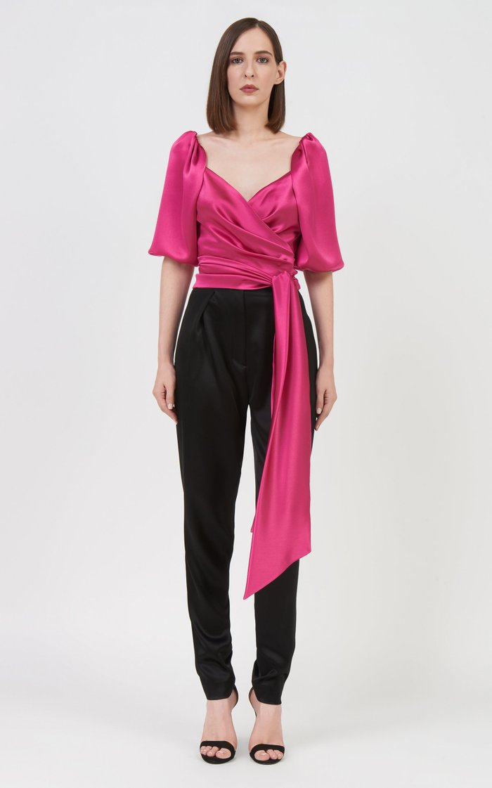 Hadley Puff-Sleeve Ruched Satin Top