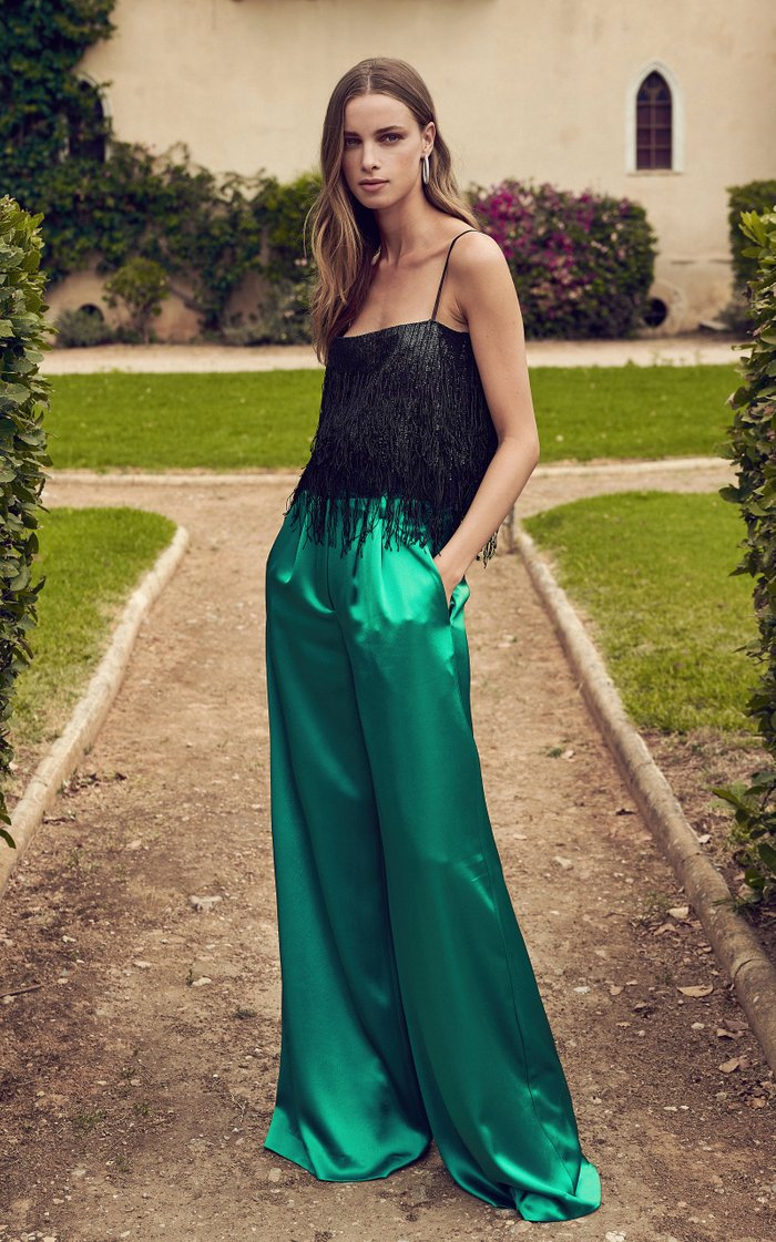 Jeina Sequined-Fringe Lace Top