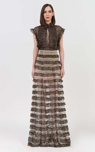 Ivette Leopard-Trimmed Dotted-Flocked Tulle Maxi Skirt