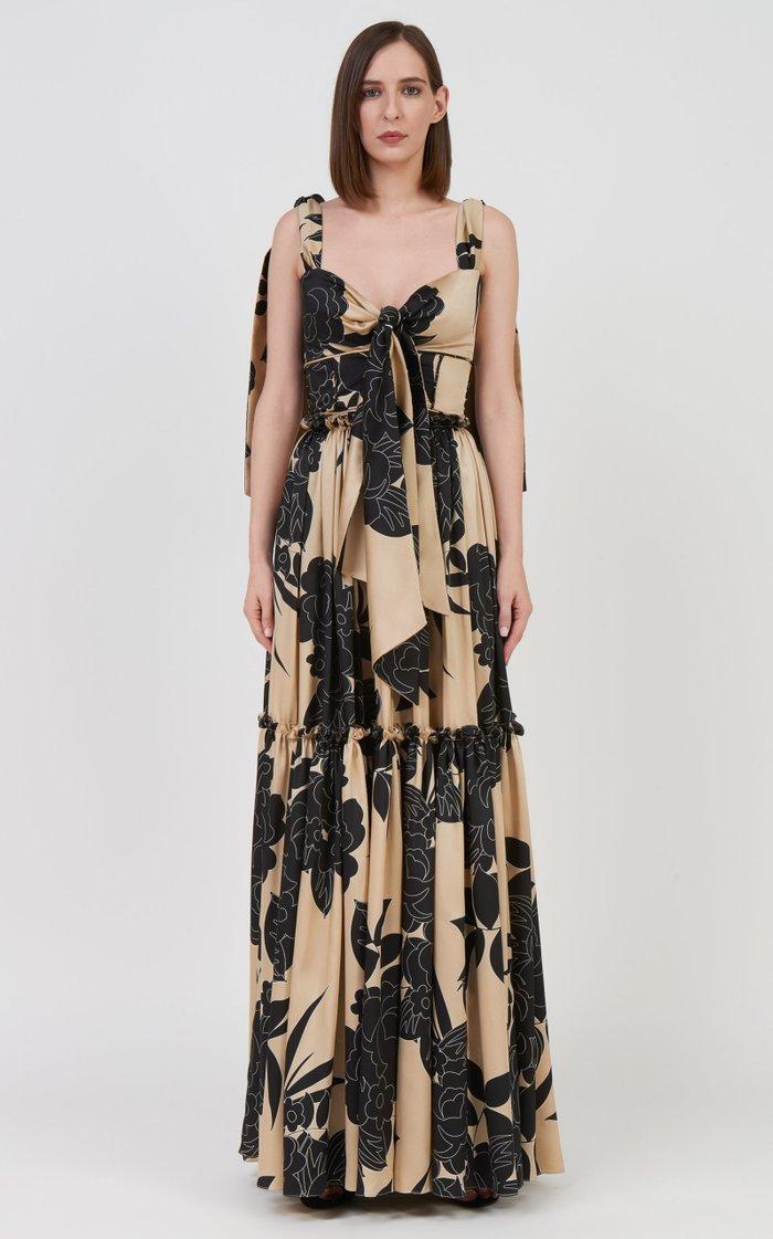 Oria Ruffled Floral Satin Tiered Maxi Skirt