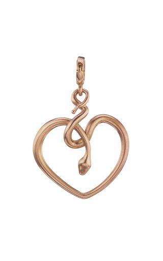 18K Rose Gold Snake Heart Charm