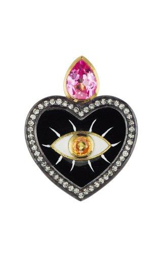 18K Yellow Gold Evil Eye Heart Charm