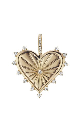 14K Yellow Gold Spiked Heart Charm