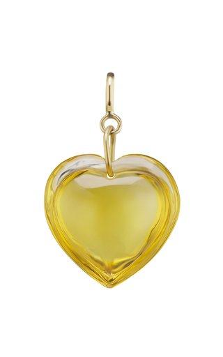 18K Yellow Gold Citrine Heart Charm