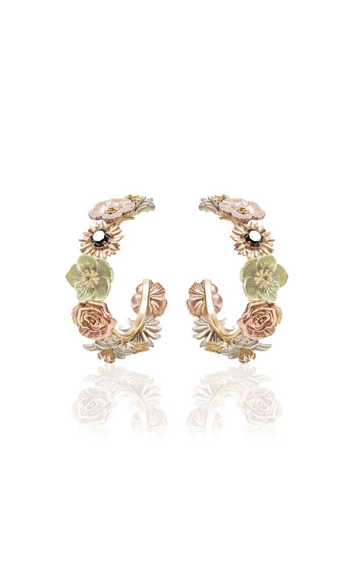 Flora 14K Gold Diamond Hoop Earrings