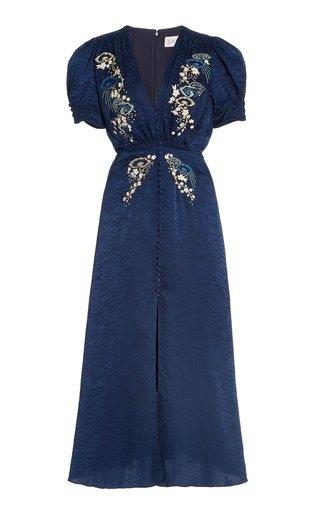 Lea Embroidered Silk Jacquard Midi Dress