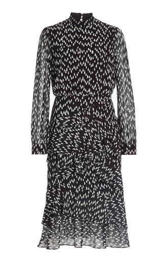 Isa Ruffled Printed Silk-Chiffon Midi Dress