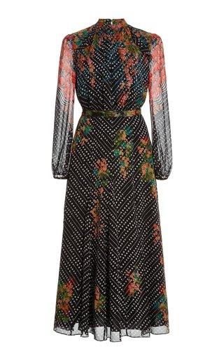 Jacqui Printed Silk Midi Dress