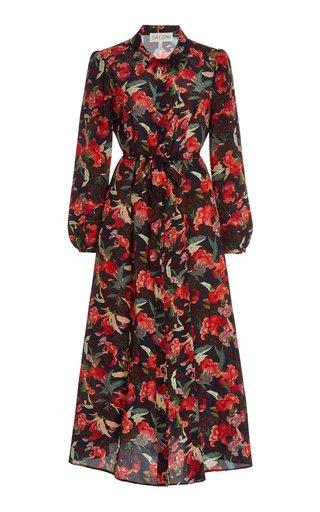 Vanessa Printed Silk Midi Dress