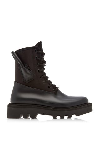 Leather-Trimmed Rubber and Neoprene Combat Rainboots