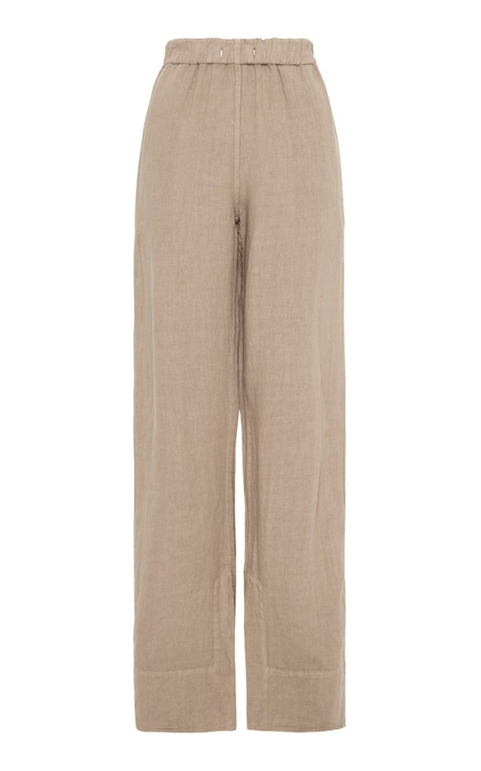 Relaxed Linen Straight-Leg Trousers