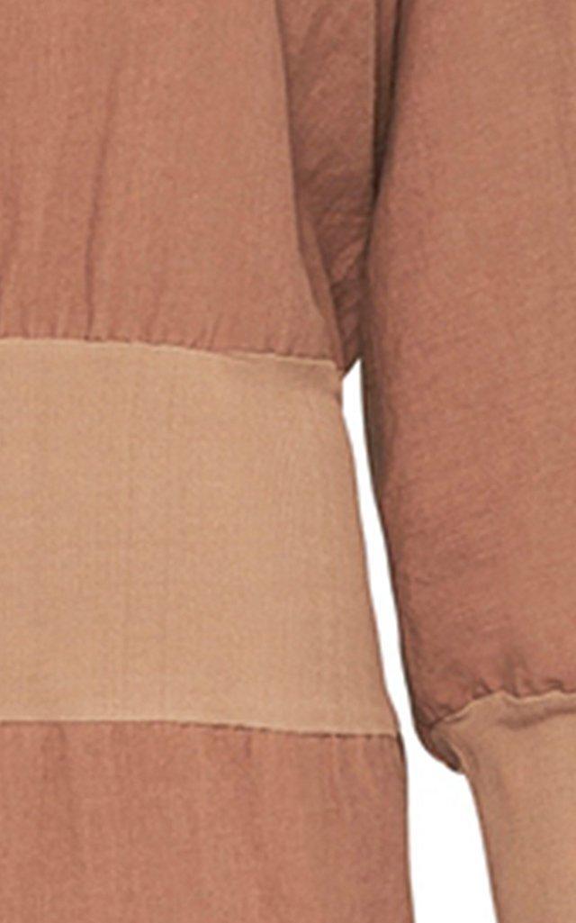 Balloon-Sleeve Linen Midi Dress
