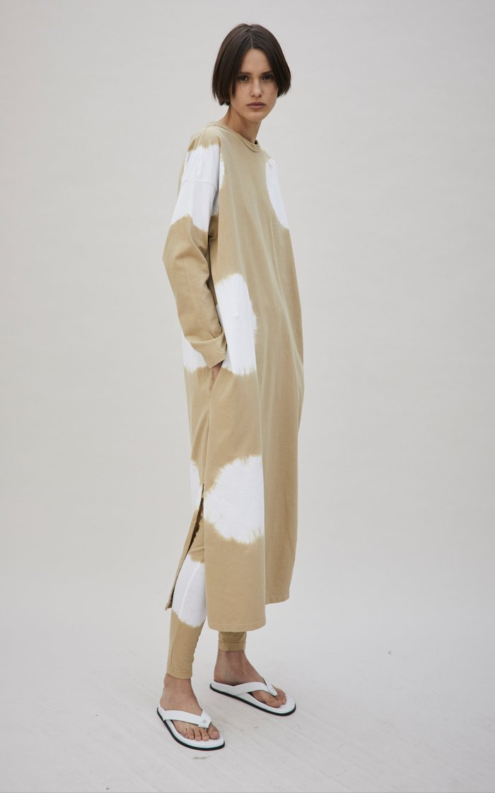 Tie-Dyed Organic Cotton Jersey Midi T-Shirt Dress