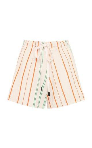 Striped Linen Drawstring Shorts