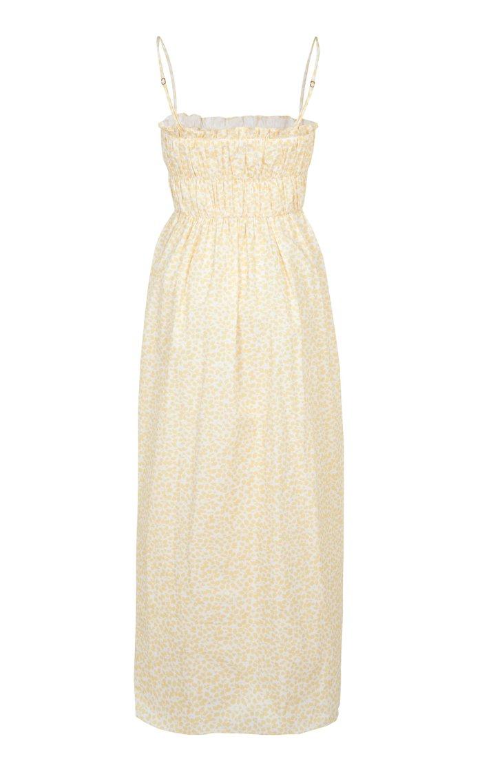 Shirred Printed Cotton Maxi Dress