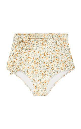 Belted Floral High-Rise Bikini Bottom