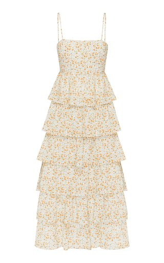 Tiered Floral Cotton-Blend Midi Dress