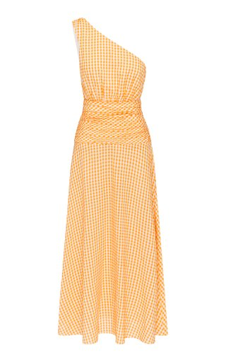 Gingham Cotton-Blend One-Shoulder Midi Dress