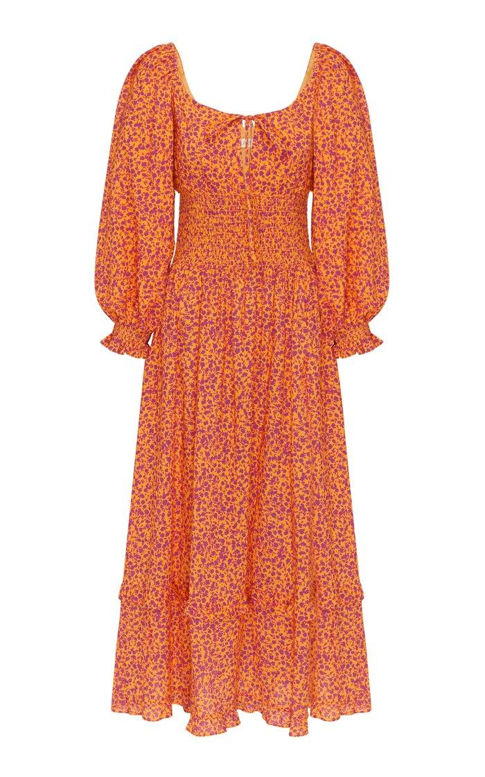 Smocked Floral Cotton-Blend Midi Dress