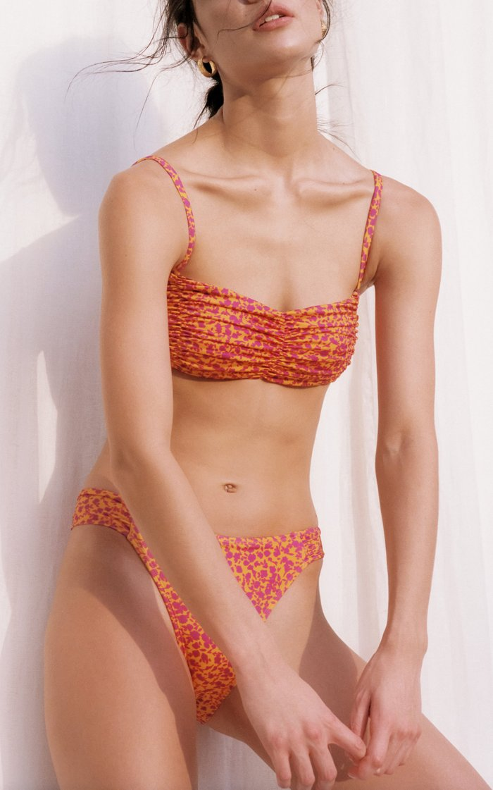 Ruched Floral High-Cut Bikini Bottom