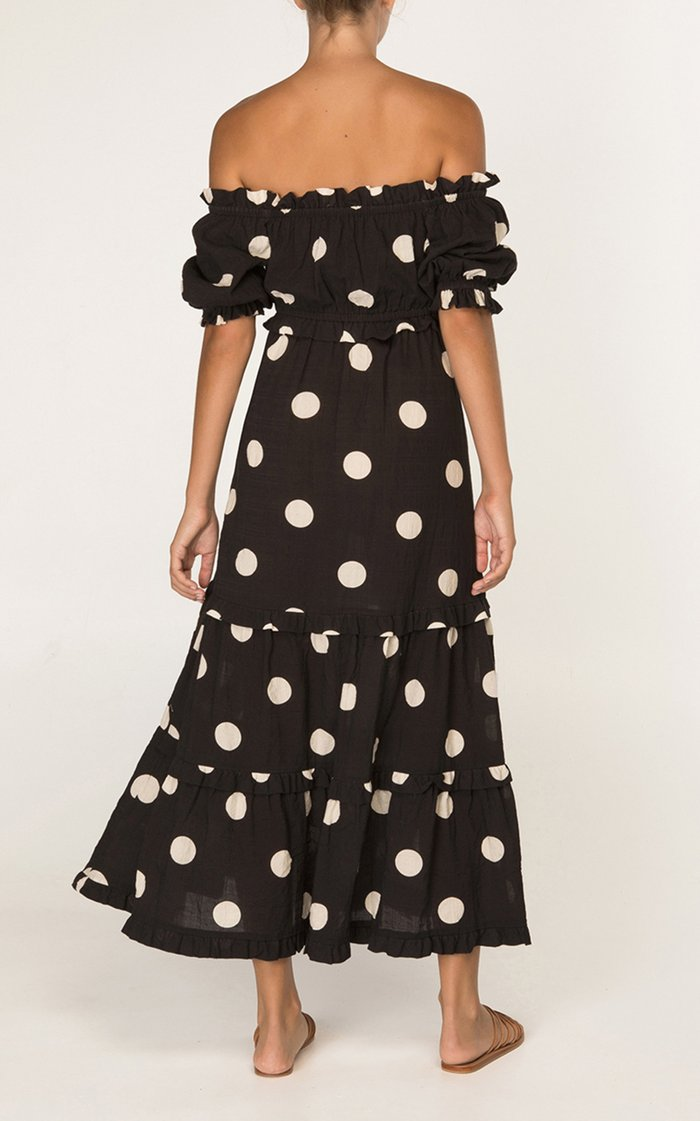 Polka-Dot Cotton-Blend Off-The-Shoulder Maxi Dress