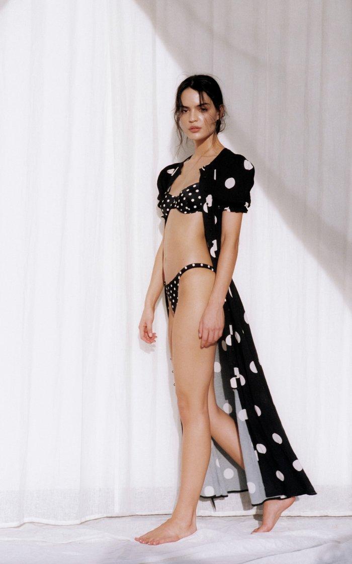 Poolside Polka-Dot Cotton-Blend Maxi Dress
