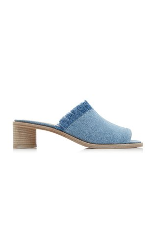 Berti Fringed Denim Mules