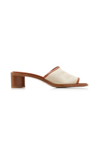 Berti Leather-Trimmed Canvas Mules