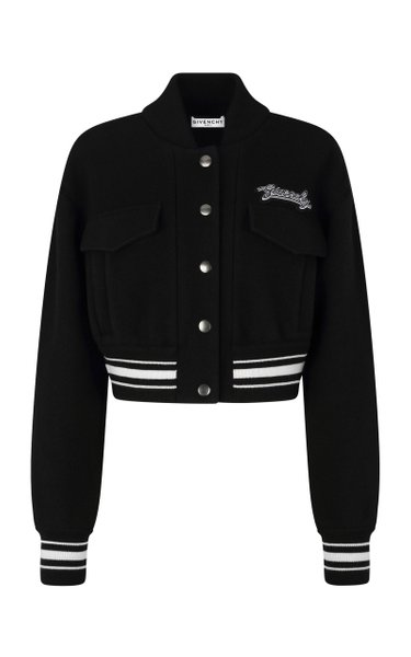 Logo-Embroidered Wool Bomber Jacket
