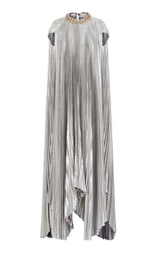 Chain-Detailed Pleated Silk-Blend Lamé Cape Dress