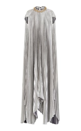 Chain-Detailed Pleated Silk-Blend Lamé Cape Dress