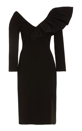 Taffeta-Trimmed Crepe Midi Dress