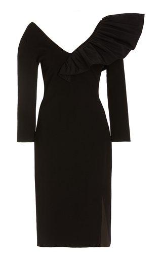 Taffeta-Trimmed Crepe Midi Dress