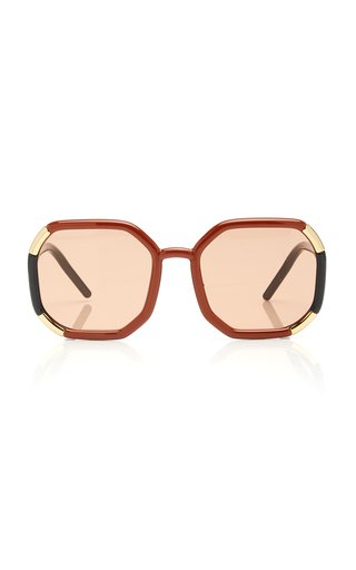 Decode Oversized Hexagon-Frame Acetate Sunglasses