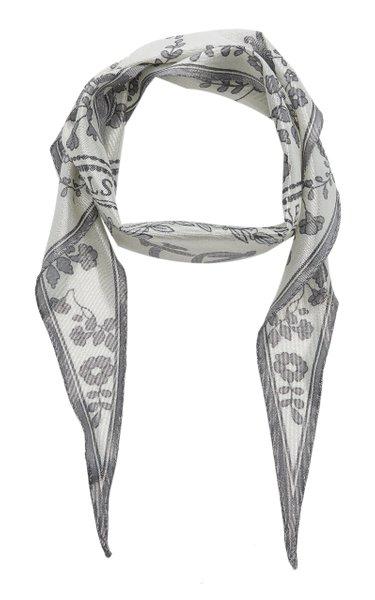 Varia Printed Silk-Blend Lamé Scarf