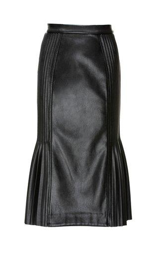 Bibi Pleated Faux Leather Midi Skirt