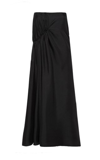 Gathered Silk Maxi Skirt