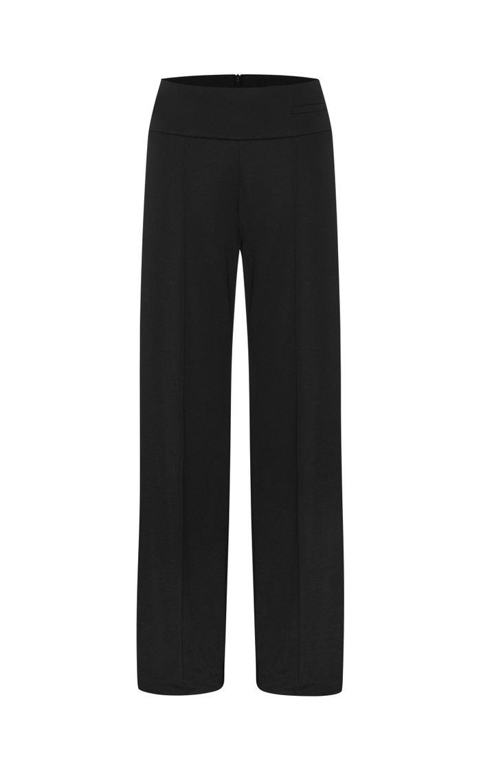 Jersey High-Waist Straight-Leg Trousers