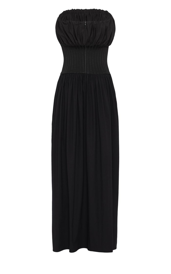 Strapless Ribbed Cotton Maxi Dress